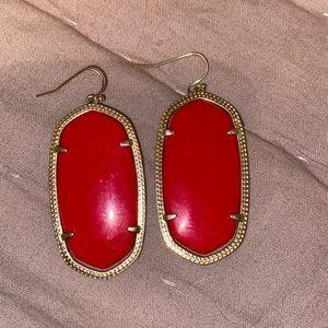 Kendra Scott Gold Danielle Earrings in Bright Red